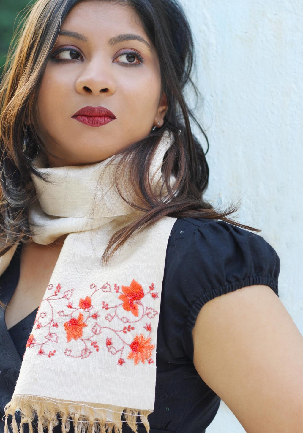 MINC Flame of the Forest Hand Embroidered Scarf in Beige Silk
