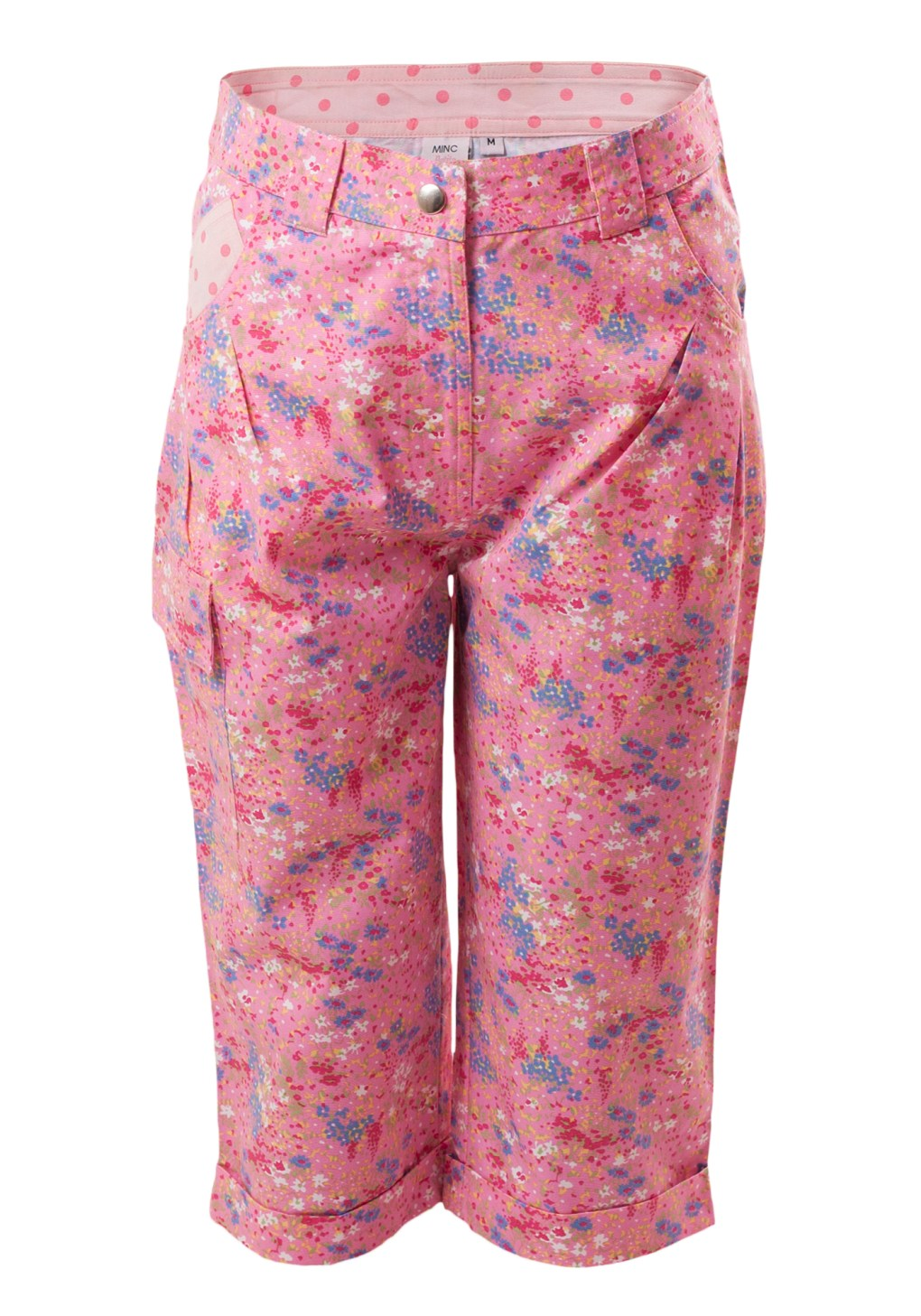 MINC Petite Long Shorts in Floral Printed Pink with front Zipper and Button Closure