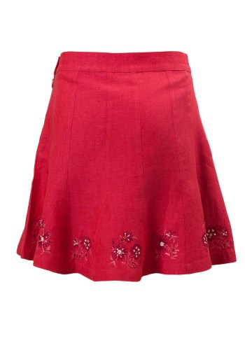 Raspberry Ice Girls Skirt in Fuchsia Linen with embroidery along hemline and coconut shell closure brought to you by MINC petite