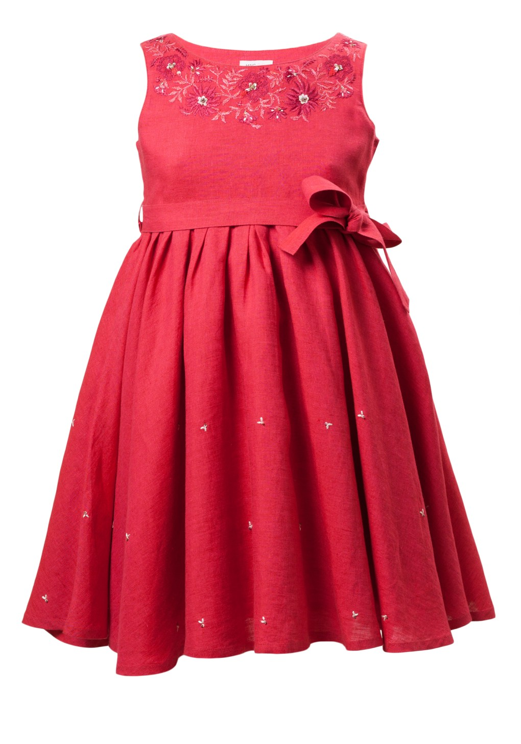 MINC Petite Garnet Fun Girls Embroidered Short Dress in Fuchsia Linen