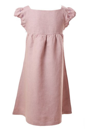 MINC Petite Lavender Summer Girls Embroidered Short Dress in Lilac Linen