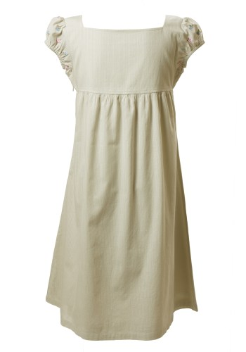 MINC Petite Spring Garden Girls Summer Dress in Striped Green Cotton Voile