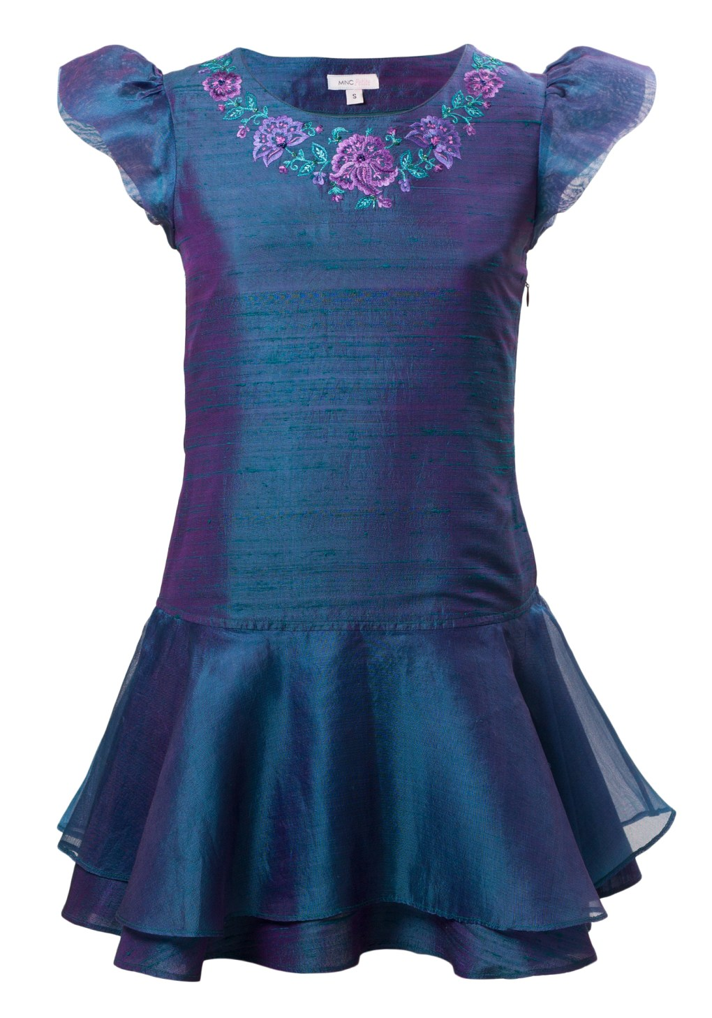 Peacock Blue Girls Short Dress in Blue Silk with floral motif around neck and skirt and sleeves made of silk organza