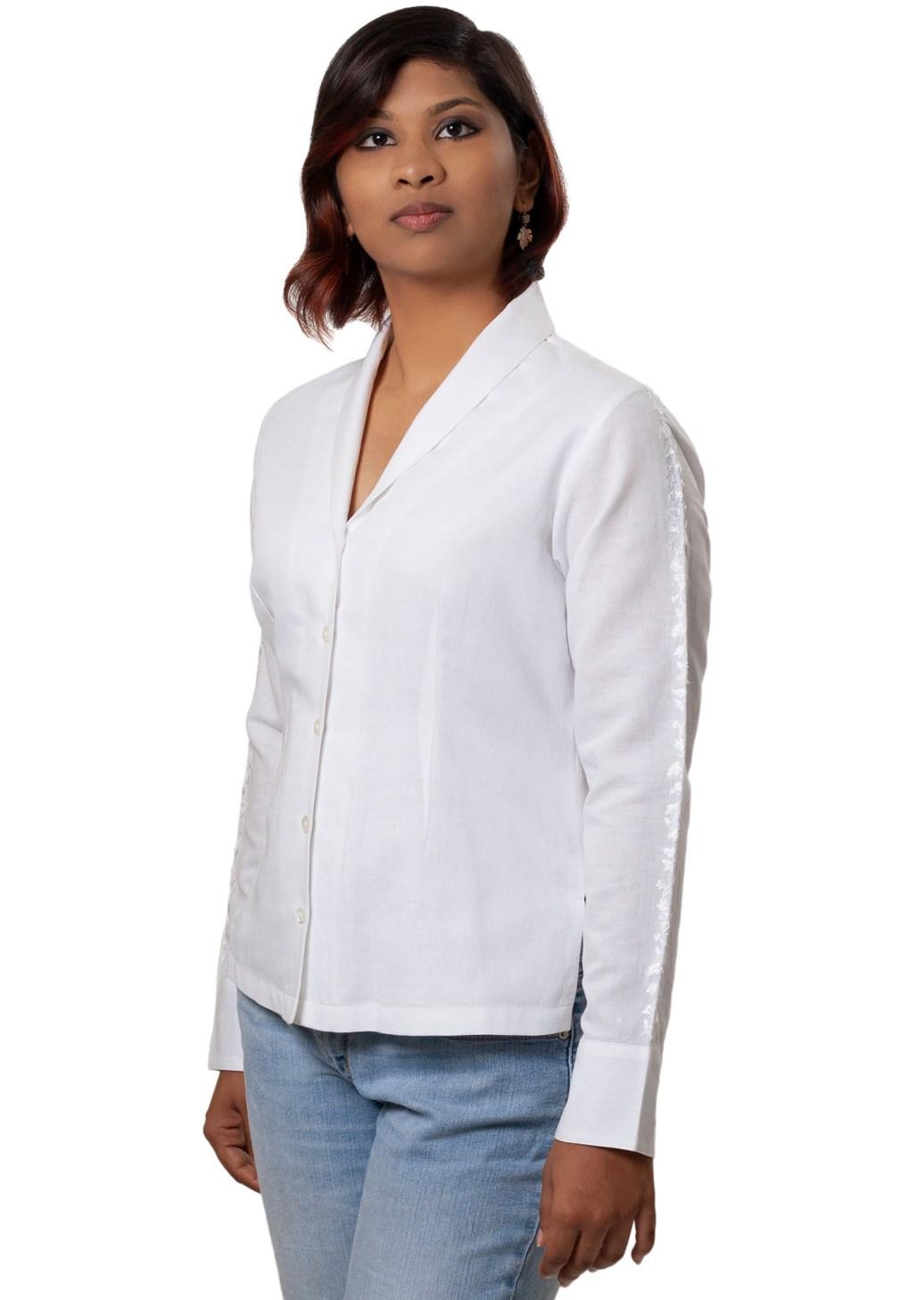 Formal Shawl Collar Shirt in White Linen