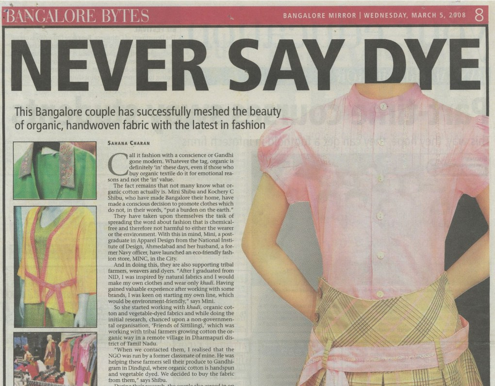 MINC as featured in article in Bangalore Mirror Never Say Dye