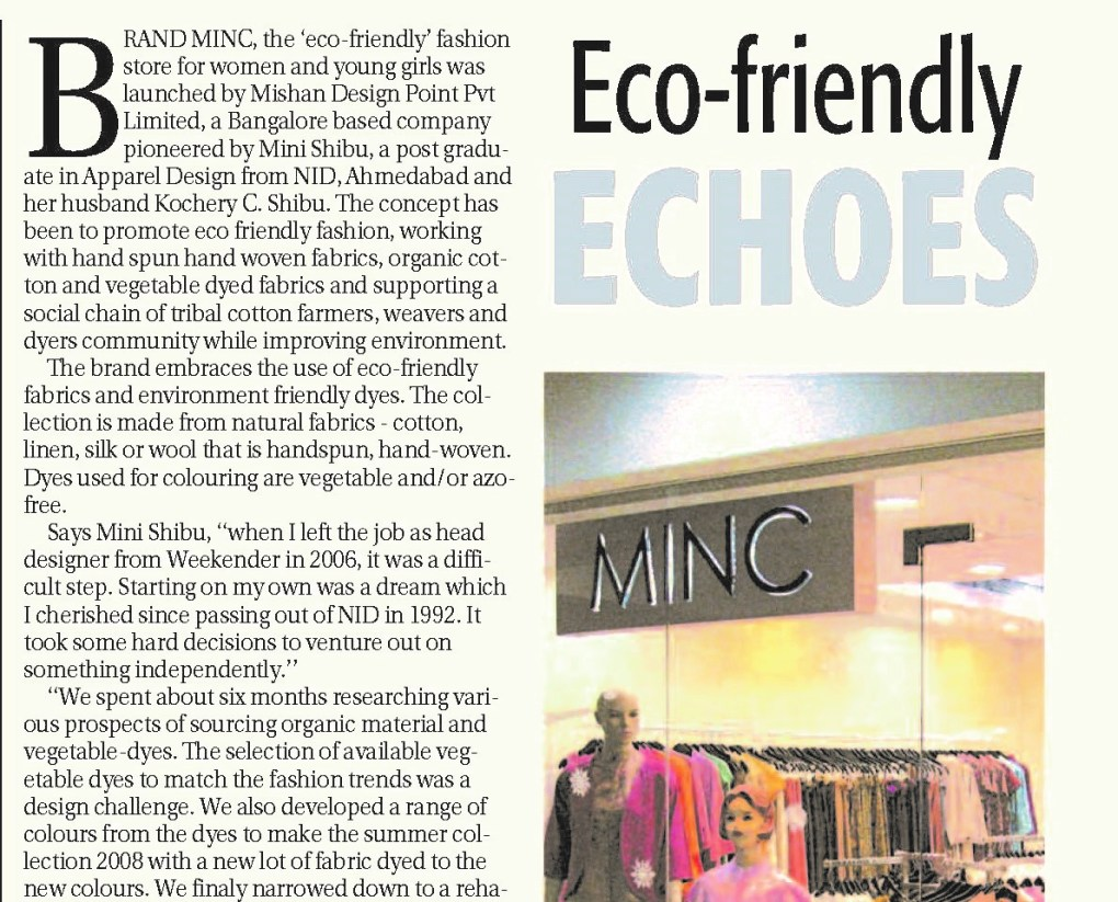 The New Indian Express featuring MINC ecofashion - Eco friendly echoes