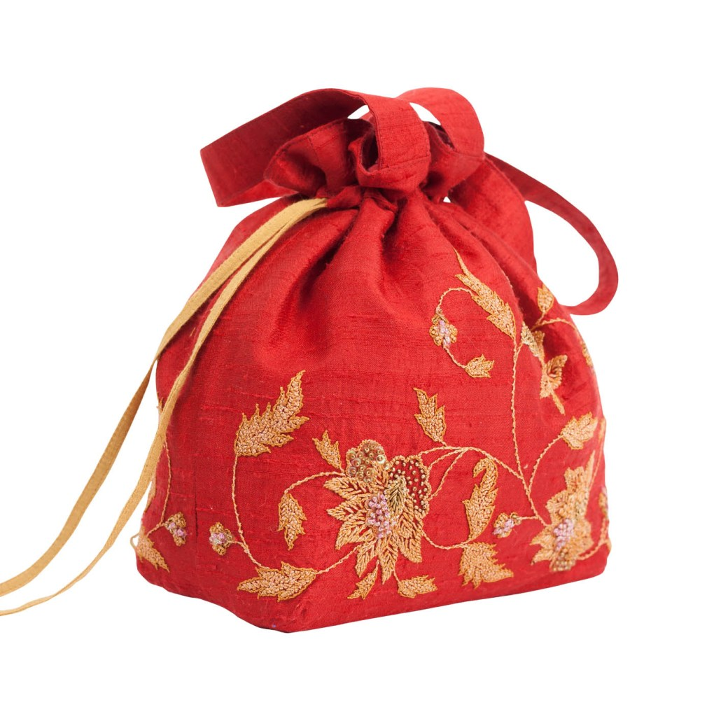 MINC Accessory Embroidered Silk Potli Bag in Ruby Red