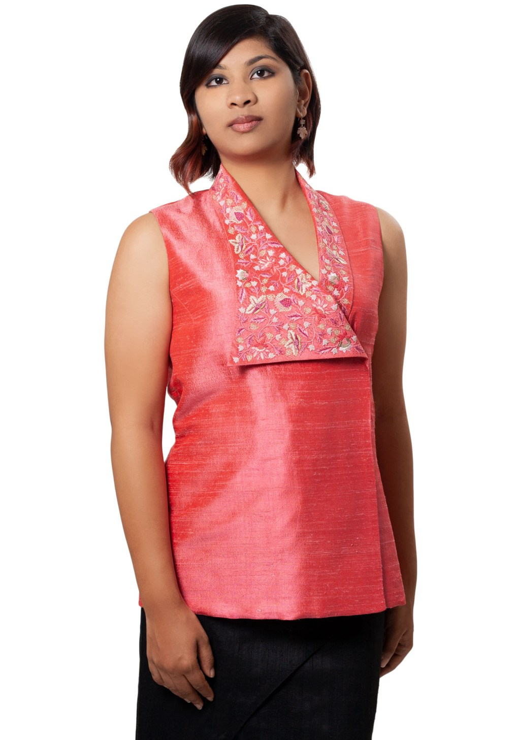 MINC Bridal Couture Elegant Asymmetric Hand Embroidered Top in Pink Silk