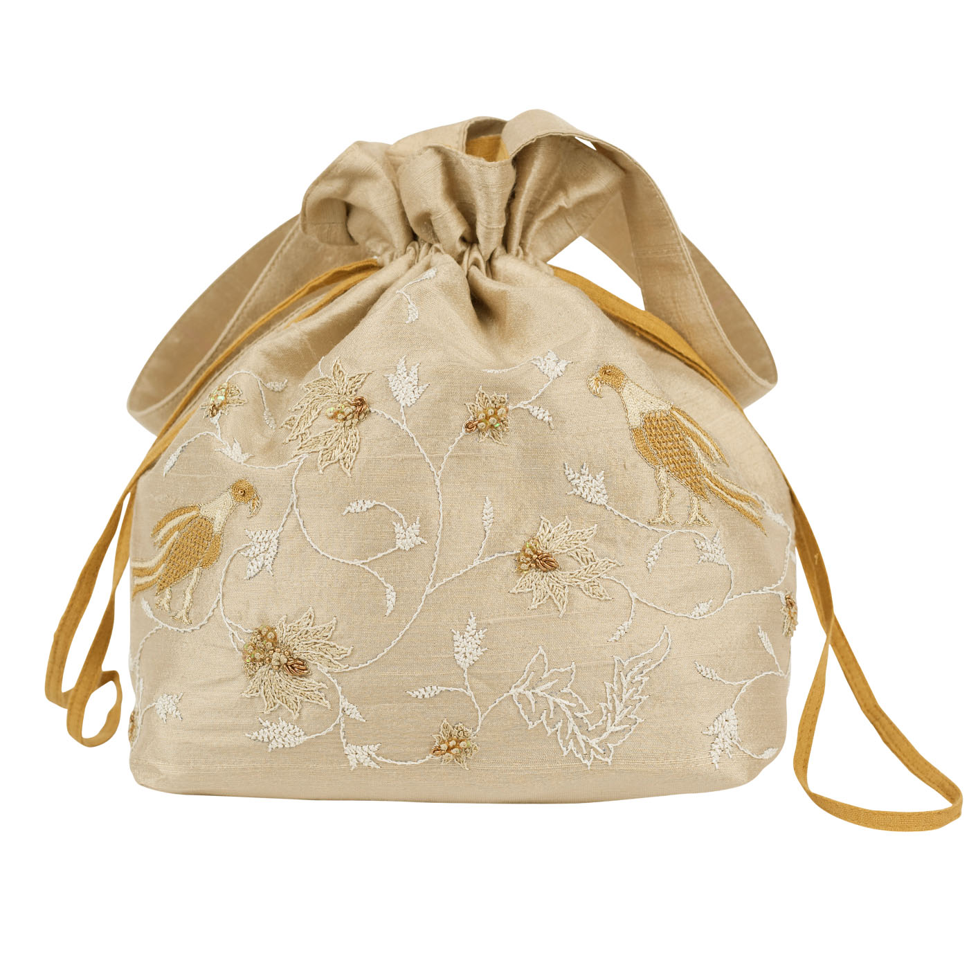 MINC Couture Embroidered Silk Potli Bag in Dune Beige