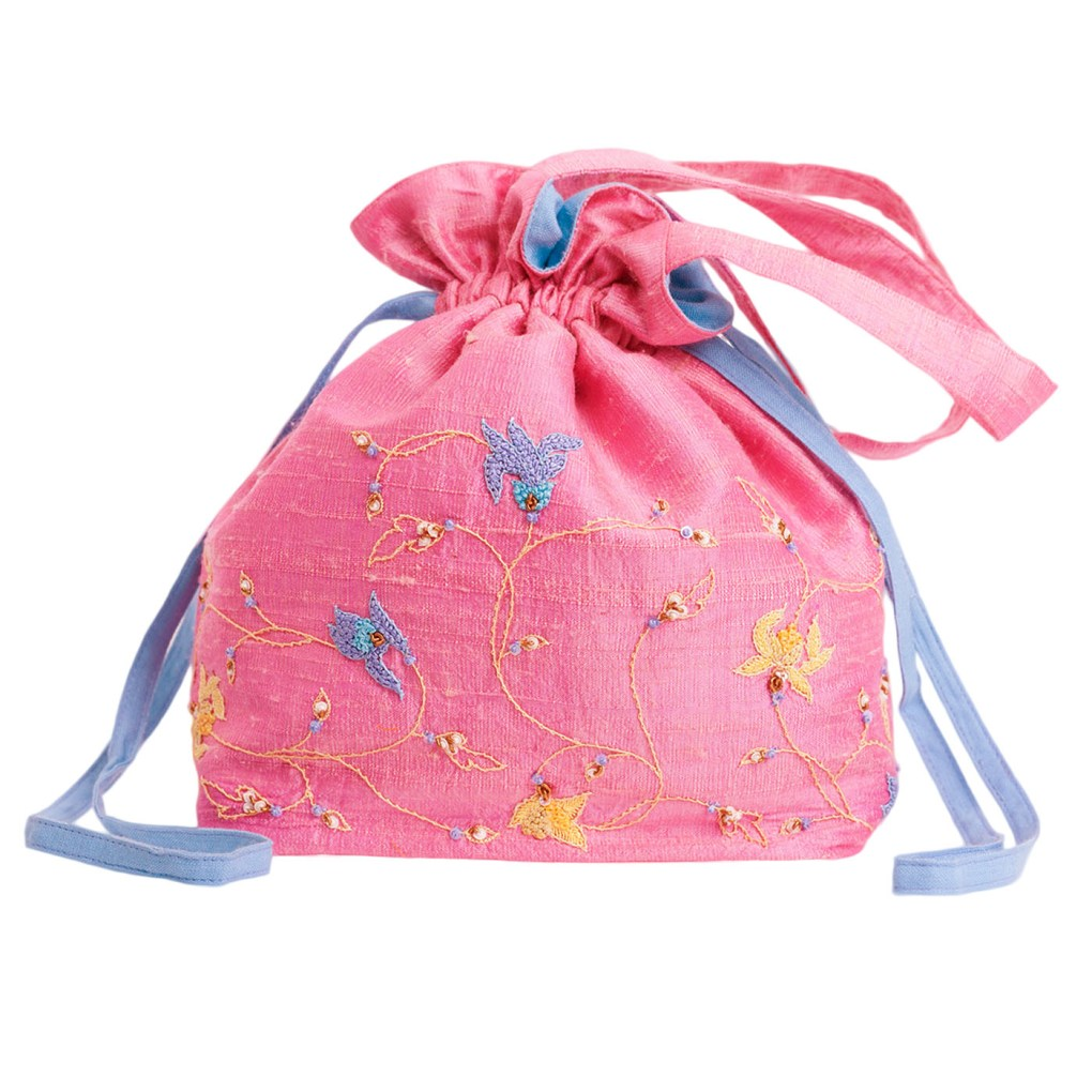 MINC Couture Embroidered Silk Potli Bag in Lotus Pink