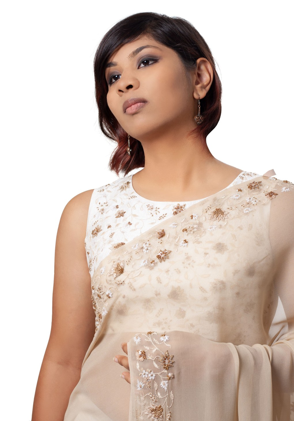MINC Couture Padmini Hand Crafted Blouse in Ivory Silk