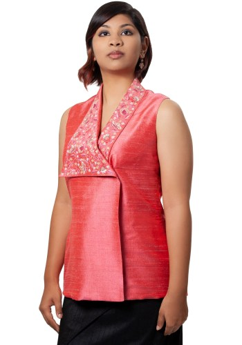 MINC Elegant Asymmetric Hand Embroidered Top in Pink Silk