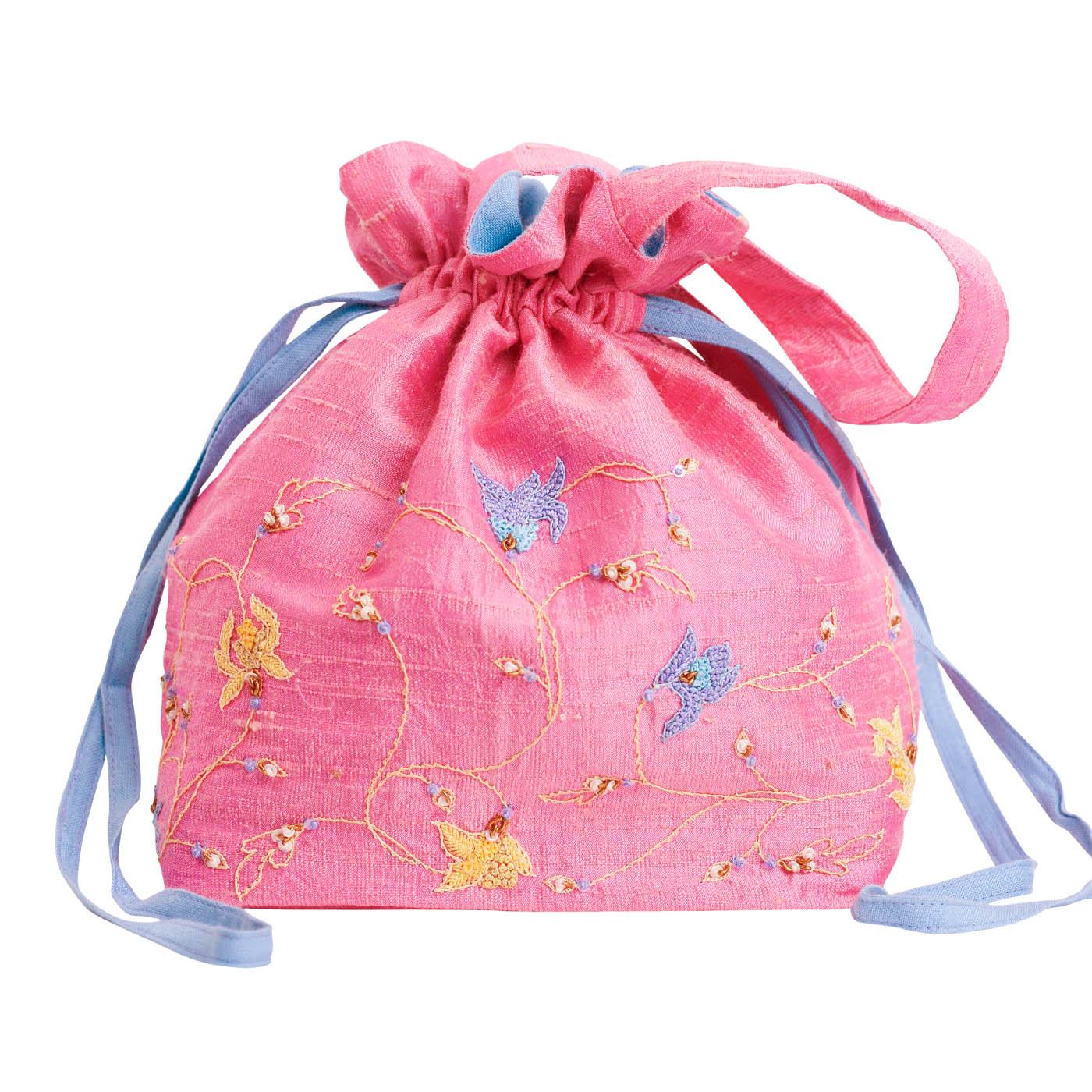 MINC Embroidered Raw Silk Potli Bag in Lotus Pink