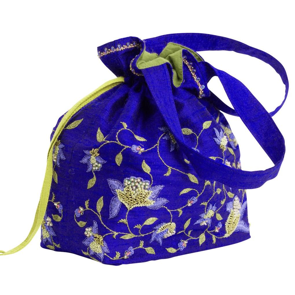 MINC Embroidered Raw Silk Potli Bag in Topaz Blue