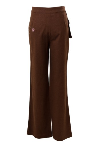 MINC Petite Sweet Pea Girls Trousers in Brown Cotton Linen