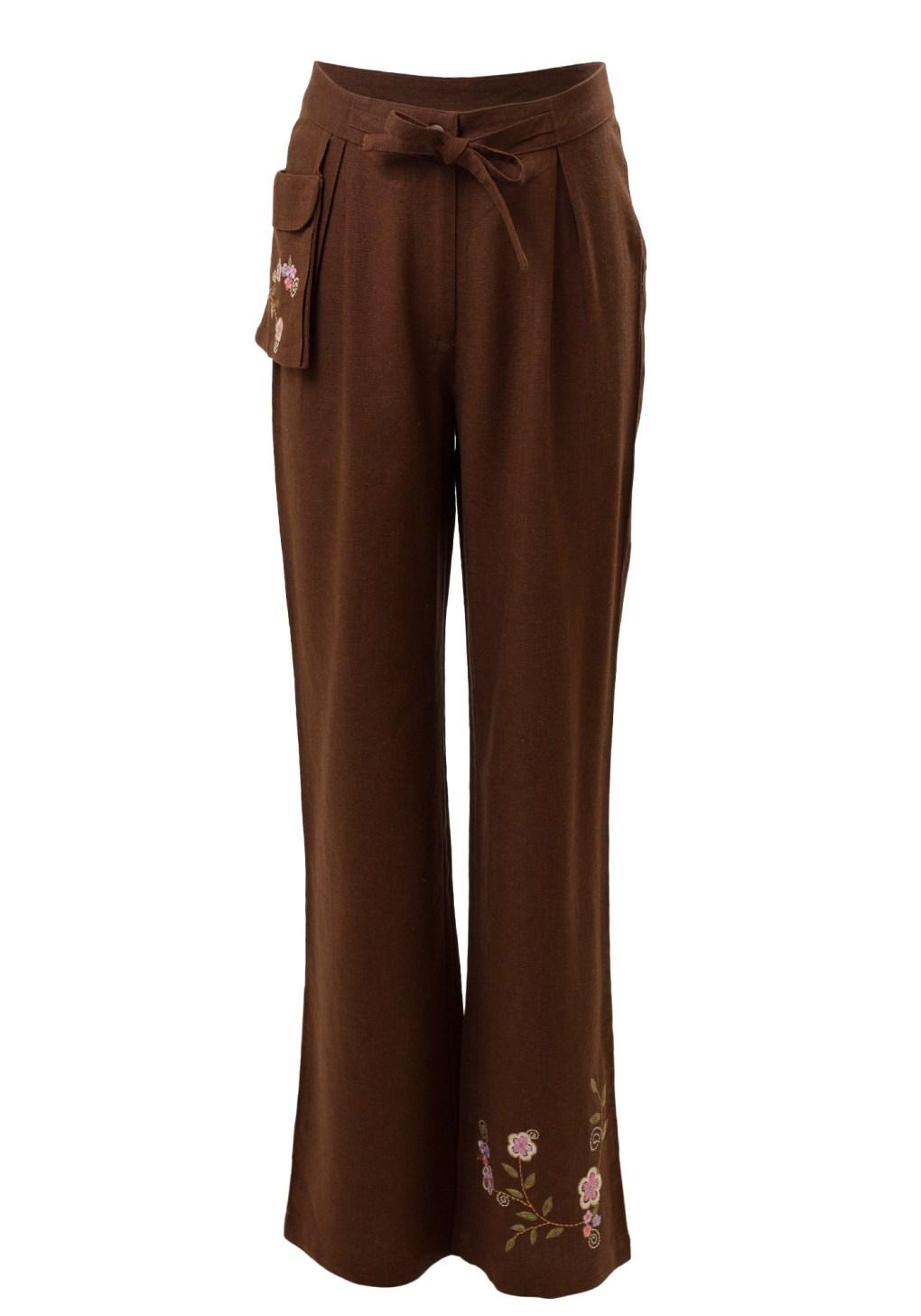 MINC ecofashion Sweet Pea Girls Trousers in Brown Cotton Linen