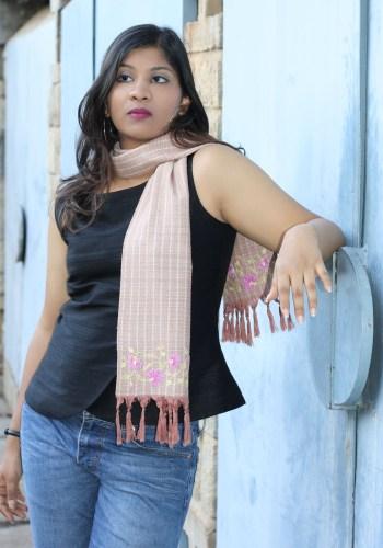 MINC Rose Chocolate Hand Embroidered Silk Scarf