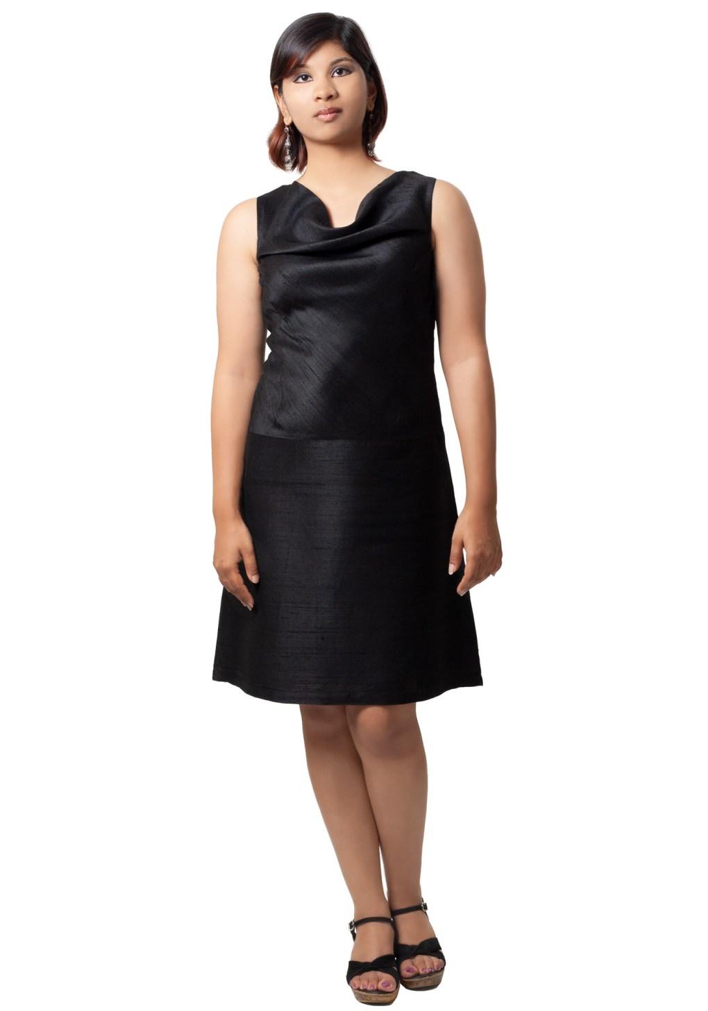 MINC ecofriendly couture Little Black Cowl Neck Dress in Silk