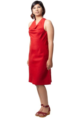 MINC ecofriendly couture Ruby Halter Cowl Dress In Red Linen