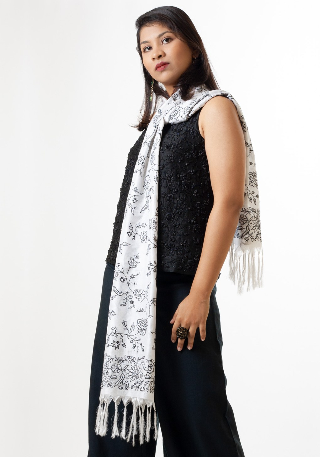 MINC ecofriendly couture for women Winter Flowers Scarf in White Silk