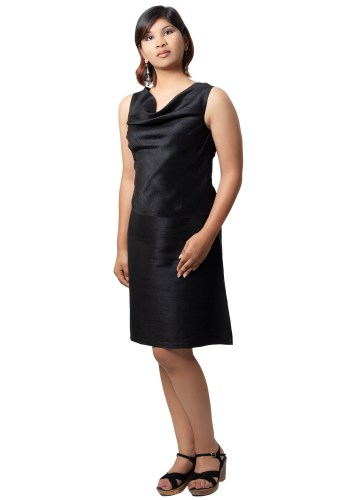 MINC womens ecofriendly clothing store Little Black Cowl Neck Dress in Silk