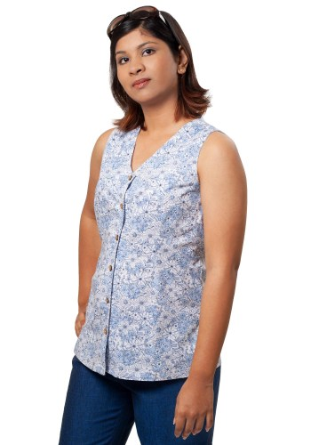MINC womens ecofriendly clothing store Slim Fit V-Neck Shirt in Printed White Cotton