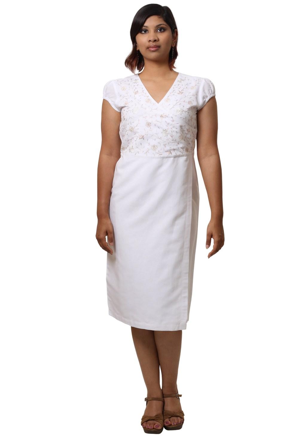 MINC Asymmetric Embroidered White Linen Dress