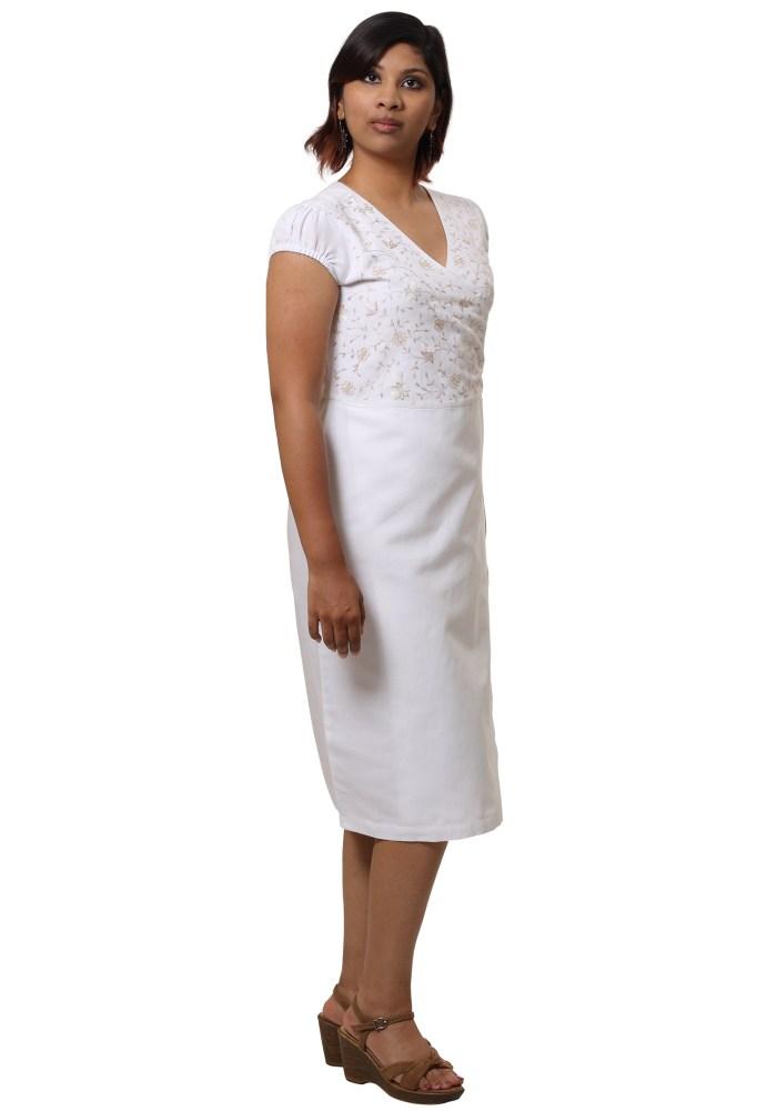 MINC Ecofashion Asymmetric Embroidered White Linen Dress