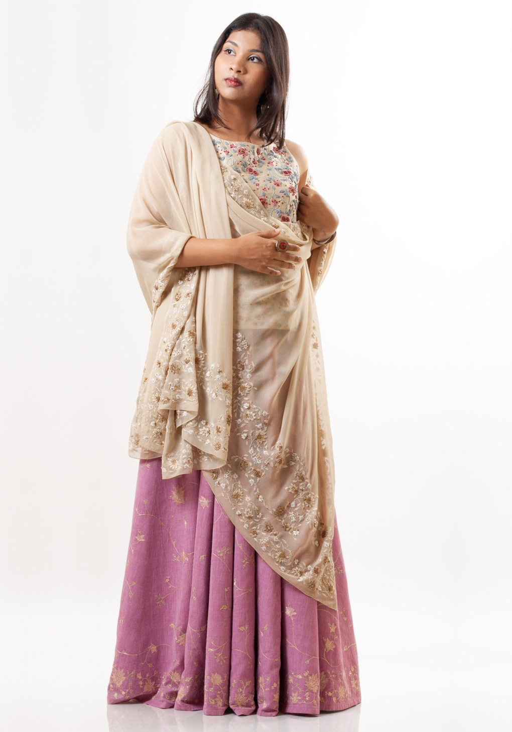 MINC Hand Embroidered Dupatta in Beige Silk Georgette