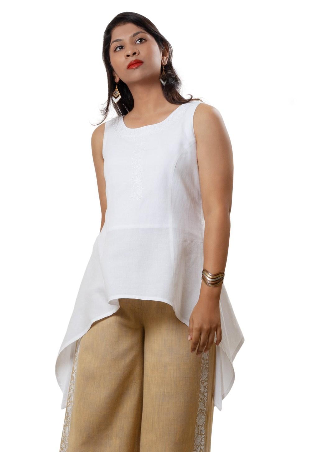 MINC Handkerchief Hem Tunic in White Linen