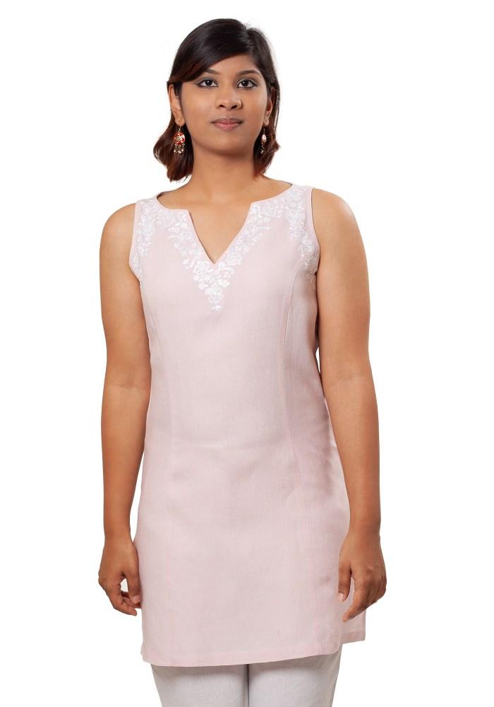 MINC Sleeveless Linen Tunic in Lotus Pink