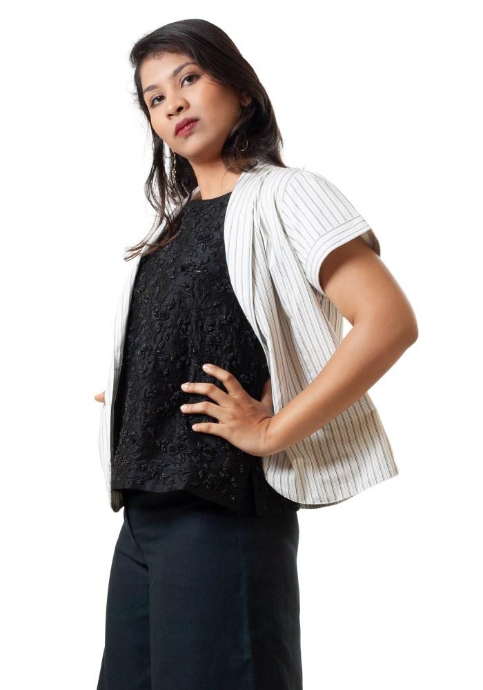 MINC ecofashion Classic Black on White Pinstripes Cotton Summer Jacket