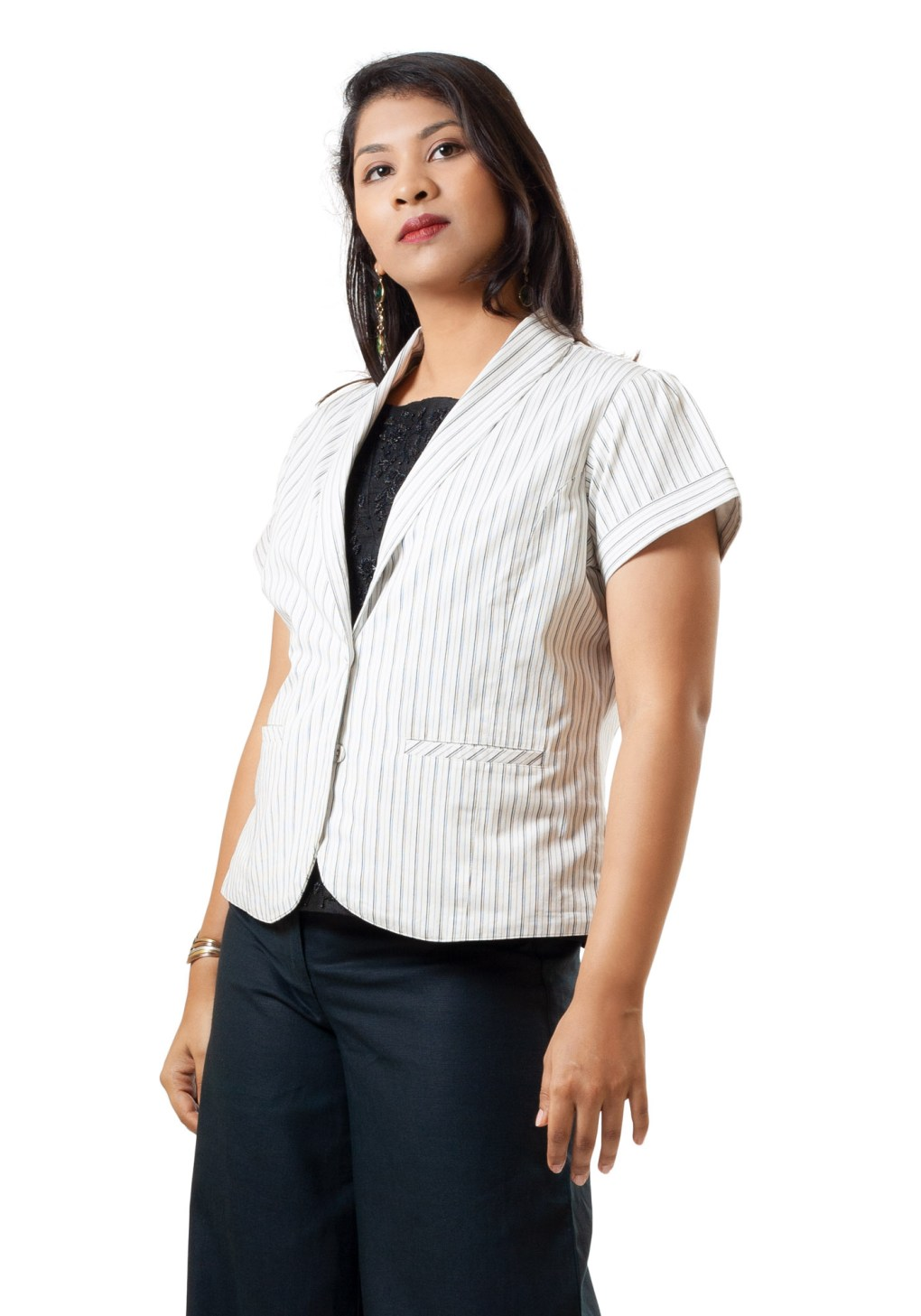 MINC womens high fashion brand Classic Black on White Pinstripes Cotton Summer Jacket