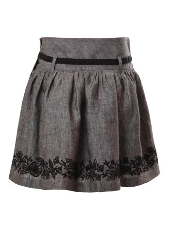 MINC Petite Embroidered Girls Skirt in Grey Linen