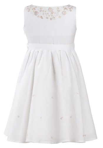 MINC Petite Girls Embroidered Dress in Angelic White Linen