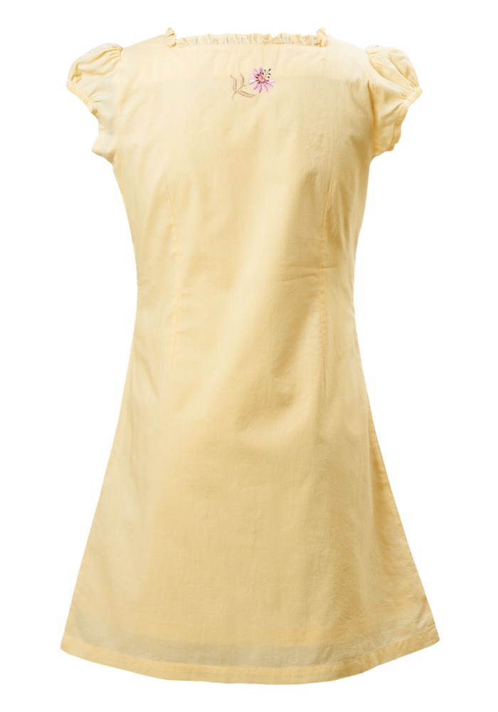 MINC Petite Girls Embroidered Dress in Yellow Cotton