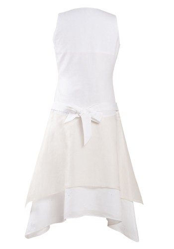 MINC Petite Girls Embroidered Fairy Dress in White Cotton Linen and Silk