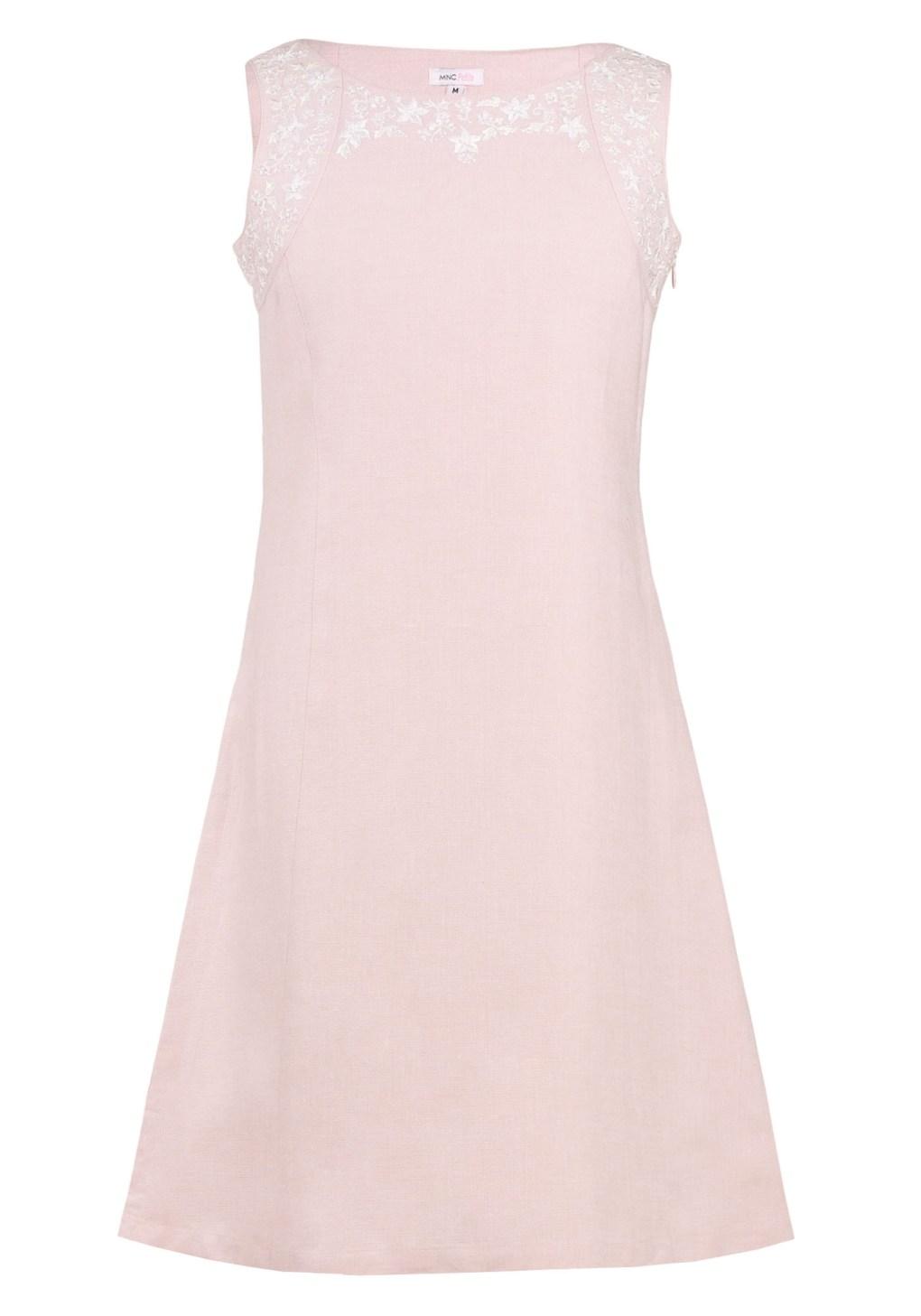 MINC Petite Girls Embroidered Short Dress in Light Pink Linen