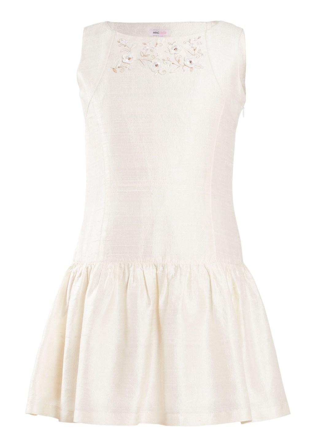 MINC Petite Girls Sleeveless Embroidered Dress in White Silk