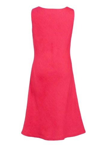 MINC Petite Juicy Raspberry Girls Cowl Neck Dress in Fuchsia Linen