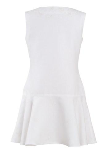 MINC Petite Preppy Girls Embroidered Sleeveless Dress in White Cotton Linen