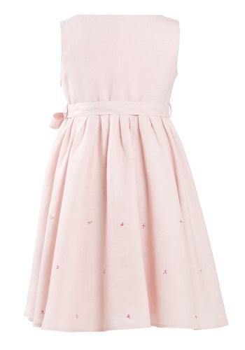 MINC Petite Princess Girls Embroidered Short Dress in Lotus Pink Linen