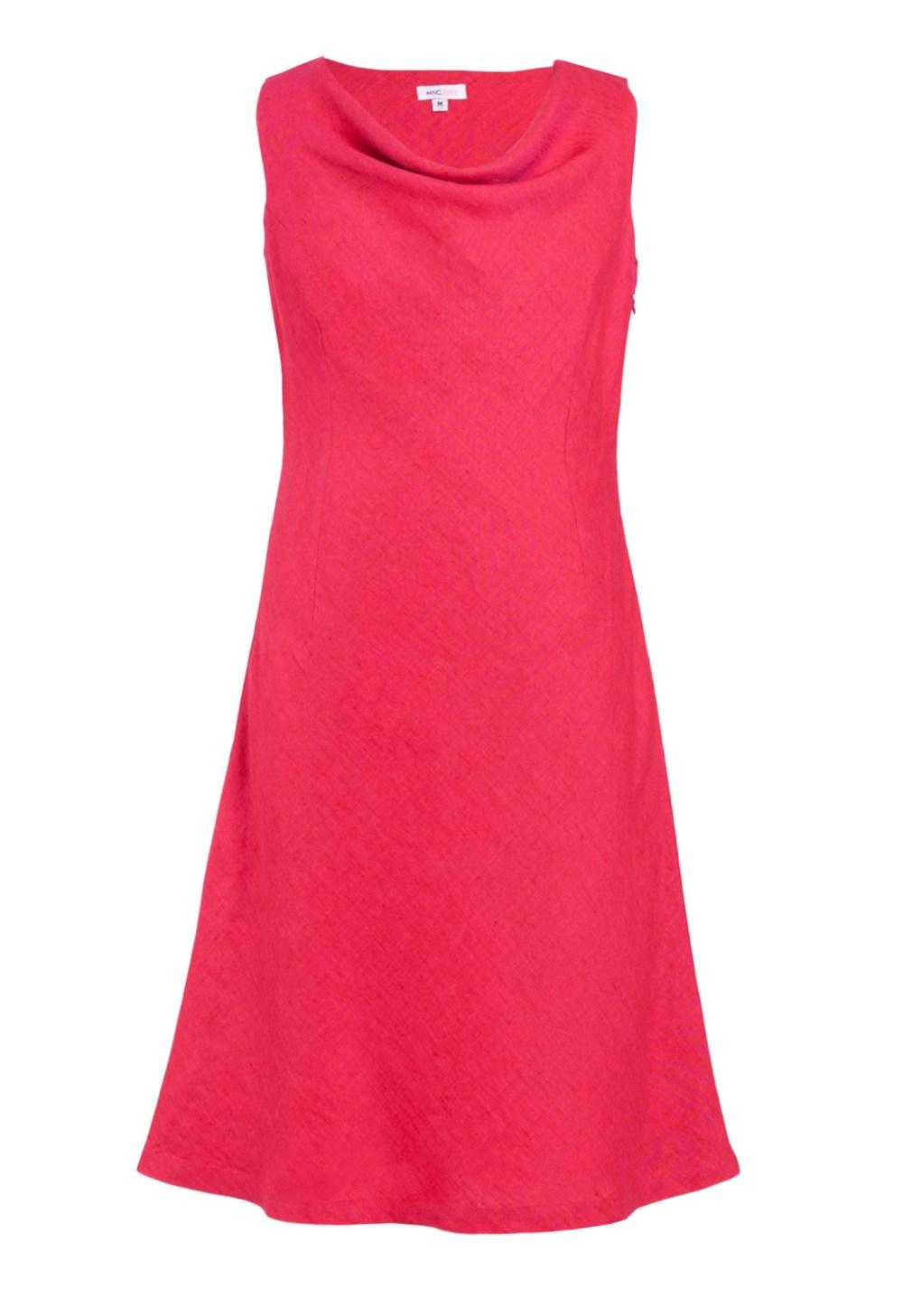 MINC Petite Raspberry Girls Cowl Neck Dress in Fuchsia Linen