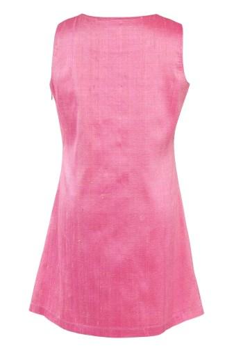 MINC Petite Spring Rose Gathered Yoke Girls Dress in Hot Pink Silk