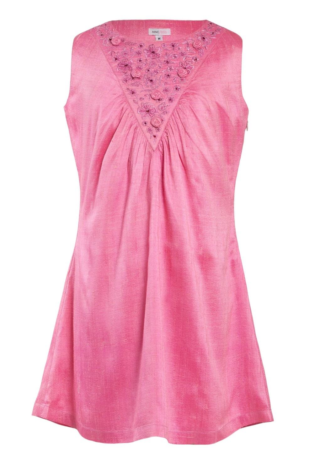 MINC Petite Spring Rose Gathered Yoke Girls Dress in Pink Silk