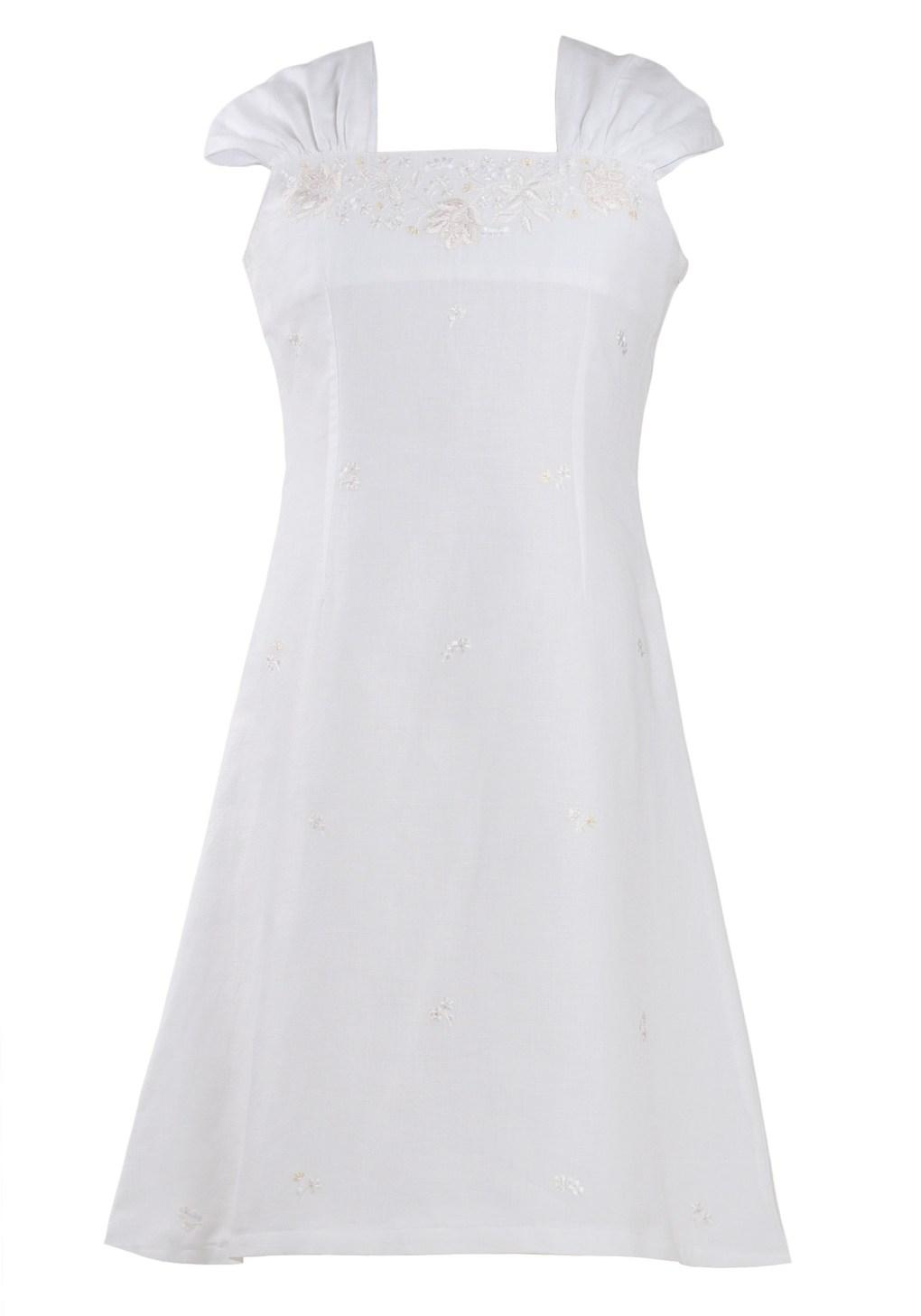 MINC Petite Summer Love Girls Short Dress in White Cotton Linen