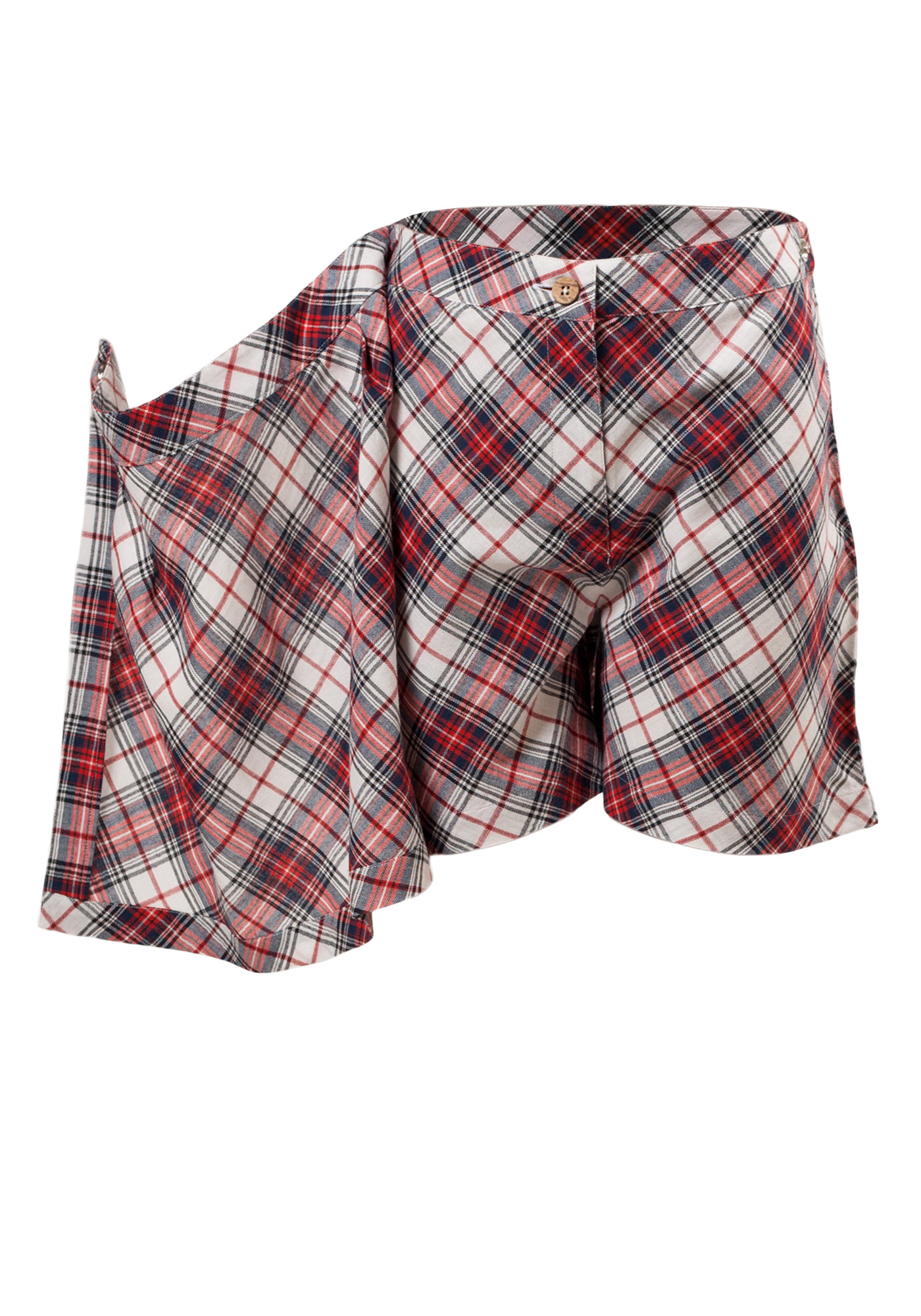 MINC Petite Tartan Girls Short Skorts in Red, White and Blue Cotton Checks