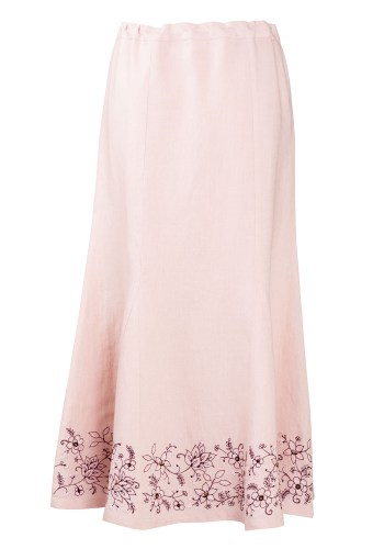 MINC couture fashion Ankle Length Embroidered Skirt in Pearly Pink Linen