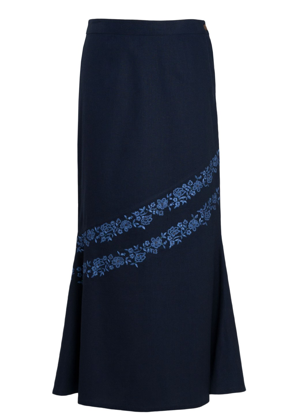 MINC ecofashion Maxi Skirt in Blue Cotton with Floral Embroidery