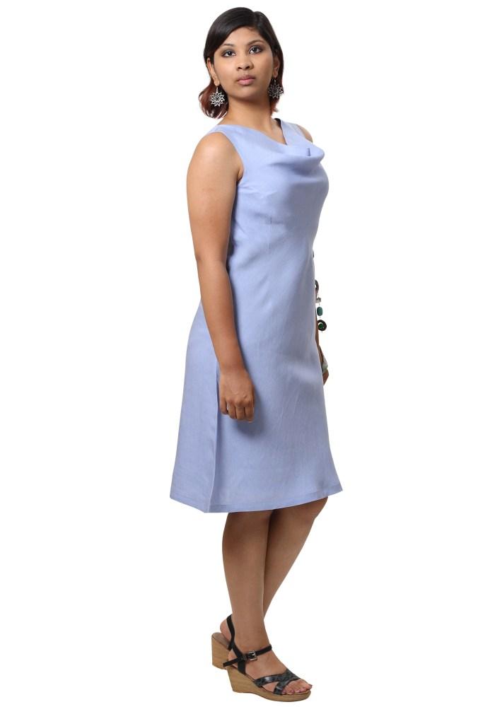 MINC Ecofriendly Womens Short Cowl Neck Dress in Lilac Linen